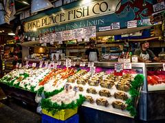 The fish counter (Jim Nix / Nomadic Pursuits) Tags: seattle travel sunset summer roadtrip olympus pacificnorthwest pikeplacemarket washingtonstate fishcounter mirrorless nomadicpursuits jimnix olympusomdem1 aurorahdrpro