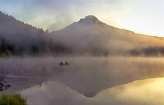 Smoke and Mirrors on Trillium Lake (Cole Chase Photography) Tags: summer mist fog oregon sunrise canon reflections dawn fisherman pacificnorthwest t3i trilliumlake