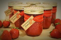 Homemade Strawberry Jam. (ADP Photos) Tags: red food strawberry redribbon sony strawberries homemade jam jars strawberryjam foodphotography sonyalpha customjars sonya6000