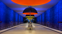 Clockwork Orange II (*Capture the Moment*) Tags: 2015 architecture architektur dynamic dynamik farbdominanz häuserwohnungen innenarchitektur insightview interiordesign leute munich orange people subway ubahn westfriedhof yellow blau blue gelb