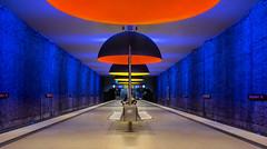 Clockwork Orange II (*Capture the Moment*) Tags: 2015 architecture architektur dynamic dynamik farbdominanz huserwohnungen innenarchitektur insightview interiordesign leute munich orange people subway ubahn westfriedhof yellow blau blue gelb