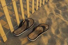 Feet wanted.... (Joe Hengel) Tags: rehobothbeach beach sand flipflops fence fenceline seaside seashore summer morning goodmorning morninglight