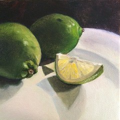 Limes (Joan Y) Tags: oilpainting limes fruit paint canvas green citrus 5inx5in
