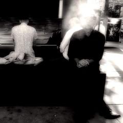 Montral. Village gay. Le musicien, le spectateur, le fumeur (TikoTak) Tags: montreal monochrome montral village gay musician musicien fumeur fume smoke listener smoking smoker outdoor blackwhite blackandwhite