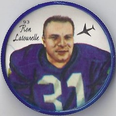 1964 Nalley's Potato Chips CFL Plastic Football Coin (type 2 back) - RON LATOURELLE #93-N (Winnipeg Blue Bombers / Canadian Football League) (Baseball Autographs Football Coins) Tags: 1964 nalleys football coins caps footballcoins footballcaps bclions britishcolumbialions edmontoneskimos calgarystampeders saskatchewanroughriders winnipegbluebombers blank back blankback cfl canadianfootballleague potatochips vintage type1 type2 errorback ronlatourelle