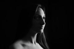 Nika (Ash and Debris) Tags: shadow bw girl studio dark monochrome blackandwhite black beauty shadows portrait light