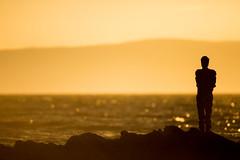 Antony Gormley's LAND at sunrise (C.Andrews) Tags: antonygormley arran saddell thelandmarktrust sunrise sea statue gold firthofclyde kintyre
