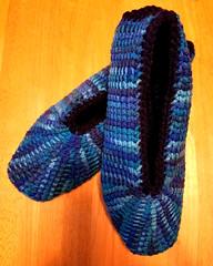 Blue Tunisian Slippers (tephralynn) Tags: crochet tunisiancrochet afghancrochet slippers acrylic