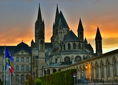 Abbaye des Hommes at sunset. Founded by William the Comqueror in 1063. (alcowp) Tags: normandie normandy sunset church religion romanesque architecture abbey bassenormandie caen france