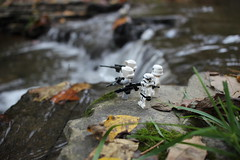 Sometimes you just have to take a moment. (kevinmboots77) Tags: lego legography starwars stormtroopers scouttroopers water waterfall outdoors