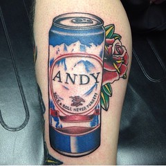 Tall boy beer can traditional tattoo by Wes Fortier - Burning Hearts Tattoo Co. 1430 Meriden Rd.  Waterbury, CT