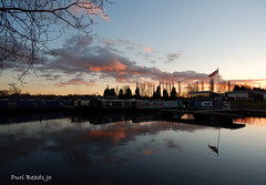 Sunset over the water (JBOT | Adaptive Disability Lifestyle) Tags: pink sunset house water clouds reflections river boat northampton reflective billing loch narrow aquadrome