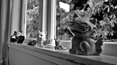 Well at least my cats are happy on this dreary day.. (chelseyclarke) Tags: cats ornaments rainy windowsill drizzly samsungnx100