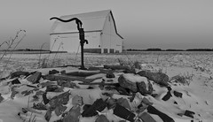 Old Pump - B & W (ramseybuckeye) Tags: life county old ohio sky white snow black art barn rocks allen pentax bricks 15 pump da hd limited