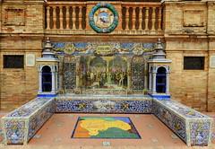 Banco de cermica dedicado a Guadalajara en la Plaza de Espaa de Sevilla (Rafael Gomez - http://micamara.es) Tags: plaza en espaa de la sevilla banco guadalajara cermica azulejos dedicado provincias espaolas