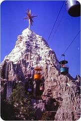Matterhorn, Disneyland - 1963 (leftofnever) Tags: vacation holiday color colour tourism 35mm kodak disneyland archive places tourist disney scan 35mmfilm 1960s foundphoto 1963 35mmslide transparancy viewfromthisside kodaachrome believeinfilm