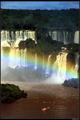 Boat ride to the Falls and Rainbow (mark.paradox) Tags: travel water landscape boat rainbow power ride falls iguazu paradox iguassu
