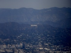 Hollywood sign in the distance (erintheredmc) Tags: hollywood california sign hollywoodland fuji finepix f900exr february 2015 view from airplane window seat united airlines lax msp plane flying air aerials aerial shot travel tourist wanderlust holiday vacation break winter escape drought water supply low dry erin mccormack wing