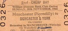 Williams Deacon's railtour ticket.  20th November 1966 (Brit 70013 fan) Tags: november club tour williams bank rail ticket 1966 deacons