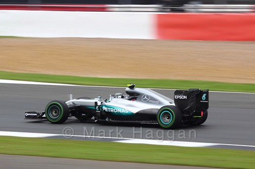 Nico Rosberg in his Mercedes in Free Practice 3 at the 2016 British Grand Prix