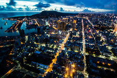   Night of Kaohsiung (Raider Chen ) Tags: street city blue light sunset sky building beautiful night clouds port canon asia image wide taiwan scene tokina kaohsiung                 lightburst 600d    t116   1116mm starnurst