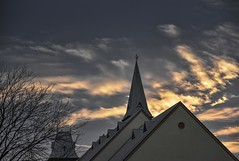 Winter (phunnyfotos) Tags: phunnyfotos australia victoria vic gippsland warragul church wesley wesleyofwarragul methodist sunset lateafternoonlight cloud clouds sky skies light evening treesilhouette winter steeple roof gable tower 1888 1889 tjcrouch nikon d750 nikond750