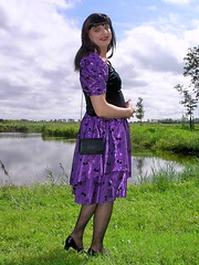 Purple Paula (Paula Satijn) Tags: gril gurl tgirl lady dress skirt outside shiny purple satin slik sliky nature grass