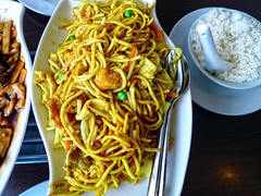 Curry, Noodles and Rice (nafoto!) Tags: curry rice noodles restaurant chinese meal yellow tasty yummy leicadlux4