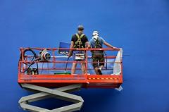 Skyjack Blue (Pedestrian Photographer) Tags: dsc5854b toronto canada ontario july 2016 wall blue deep dark orange cherry picker workers paint painters ribbet