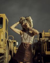 Amy Davis (pixiebat) Tags: lowonhigh girl model amydavis martimills pixiebat santafe newmexico southwest constructionequipment darksky beautiful jonmortisugu fuzzyhat tractor fashion glamor necklace greyhair amazing clouds sexy cougar