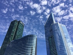 Tour Suez, Hotel Meliá et Tour First, Paris, August 2016 (ffotografica) Tags: hotel melia towers tourfirst toursuez ladefense france august summer paris city