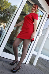 Lara 02 (The Booted Cat) Tags: sexy cute girl model red hair dress minidress nylon pantyhose heels highheels legs tall