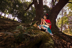 Nico - little red riding hood (bdrc) Tags: yazawa nico lovelive fairytale little red riding hood forest jungle kl lakegarden trees log wood nature sunlight basket cosplay girl portrait teddy sony a6000 tokina 1116mm f28 ultrawide flash outdoor morning warm