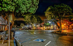 Downtown lights--DSC00075--Pacific Grove, CA (Lance & Cromwell back from a Road Trip) Tags: downtown pg pacificgrove montereypeninsula montereycounty california nightshots nightphotography sony sonyalpha a7s fe2870mm