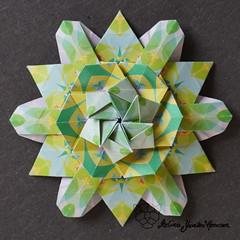 Iimori Flower B (Day 2) (Yureiko) Tags: yureiko tessellation papierfalten papier origami paperfolding paper