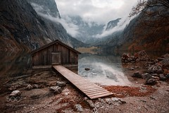 Fall (PhiladelphiaHVAC165) Tags: autumn sky lake sunset mountains water reflection tree fall germany mood bayern alps munich deutschland bavaria berchtesgaden obersee berchtesgadener land free state