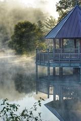 Autumn reflection (JPShen) Tags: reflection autumn morning misty tree sunlight pavilion mist fog