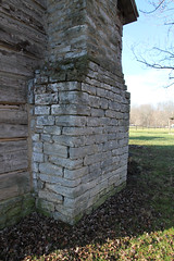 Chimney, Lukens Log House — Caesar's Creek Pioneer Village, Harveysburg, OH (Pythaglio) Tags: county trees winter ohio chimney house stone farmhouse creek pen fence early log exterior village logs historic single levi warren residence twostory pioneer exposed caesars township lukens massie dwelling 1807 hewn harveysburg chinking notching daubing hewed halfdovetail