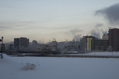 weather maker2 (Lou Musacchio) Tags: winter canada weather smog cityscape quebec montreal pollution urbanlandscape chemicalsky sprayedaerosols