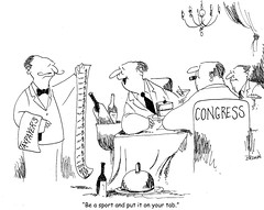 your tab.bmp (Joe_Brown) Tags: budget politicalsatire taxes waiter greed tab politicalcartoon resturaunt editorialcartoon governmentwaste congressmen joebrowncartoon congresscartoon