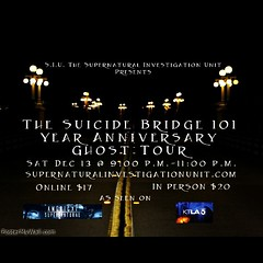 Join us this Saturday December 13 @ 9:00 p.m. For the Suicide Bridge 101 year anniversary ghost Tour. Tickets $17.00 online at http://ift.tt/1uTggmu $20.00 to RSVP via FB message inbox. #ghost #ghosts #ghosthunting #paranormal #supernatural #siu #supernat (karolalmeda) Tags: bridge tickets for this la us losangeles 2000 december tour message fb anniversary year ghost suicide saturday haunted via 101 join online ghosts pasadena inbox pm 13 paranormal 900 08 supernatural 1700 rsvp 2014 siu suicidebridge coloradostreetbridge ghosthunting 1029am hauntedpasadena hauntedlosangeles instagram ifttt supernaturalinvestigationunit supernaturalinvestigationunitcomeventshtml