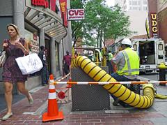 BostonNotMuchSidewalk (fotosqrrl) Tags: urban boston vent massachusetts streetphotography pedestrians worker summerstreet