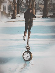 Ball and Chain (Katie) Tags: winter portrait snow girl photoshop time surrealism watch surreal manipulation
