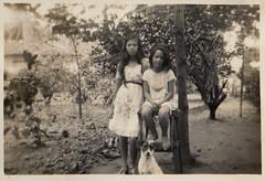 Two sisters Pichel in the Dutch East Indies in the thirties (Karin Riper ( 24 April 2015)) Tags: old dog vintage garden indonesia thirties backyard indie past oud indonesie oude lucie erna dutcheastindies nederlandschindie pichel karinriper