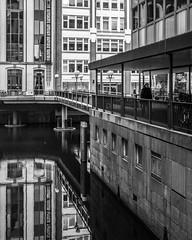 key element (mahohn) Tags: street bridge windows bw reflection water monochrome architecture facade deutschland wasser fenster hamburg 45 brücke fassade strase fujix10