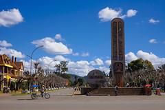 Stopping for lunch at Independence Ave. in Antsirabe. A monument memorializing the 18 tribes of Madagascar