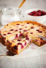 Homemade cherry and mascarpone tart (Katty-S) Tags: red food white cooking cake cheese cherry pie table dessert baking wooden berry sweet cut cream knife cook cheesecake powder fresh sugar homemade bakery ready piece tart bake powdered sieve sifting sift