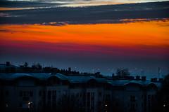 Color of dawn (Bence Fekecs) Tags: blue sunset sky orange colors clouds sunrise buildings dawn purple flats blocks