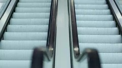 Up and down escalators (greycoastmedia) Tags: motion up modern mall way video stair lift metro empty escalator transport indoor nobody down upstairs step automatic downstairs footage movingstaircase movingstairway stockvideo greycoastmedia