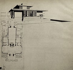 """Bock Ateliers (1902). Drawing from Frank Lloyd Wright's book """"Modern Architecture"""" (1931) (lhboudreau) Tags: architecture 1931 book books franklloydwright architect modernarchitecture bock hardcover hardcovers architecturaldrawings architecturaldrawing hardcoverbooks hardcoverbook richardbock princetonuniversitypress bockateliers khanlectures khanlecturesfor1930"""